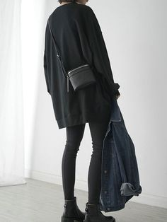 Black Loose Longline Sweatshirt