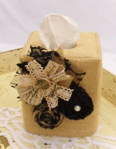 Burlap black rolled rosette tissue box cover by headtotoe2009, $22.00