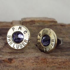 Purple Velvet 9mm Bullet Earrings  Stud Earrings  by ShellsNStuff, $14.99