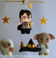 Harry Potter Mobile, Baby Crib Mobile, Nursery Wizard, BB Felt Furniture, Bedding, Harry Potter, Dobby, Sorting Hat, Hedwig, Broomstick Bday