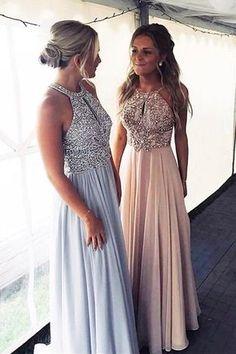 Luxurious Beads Chiffon Long Prom Dress from modsele Prom Dresses, Prom Dress Chiffon, Prom Dress Long Prom Dresses Long Cute Prom Dresses, Pretty Dresses, Beautiful Dresses, Dress Prom, Chiffon Dresses, Peach Prom Dresses, Homecoming Dresses Long, Light Blue Prom Dresses, Beaded Prom Dress