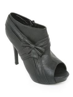 Ava 21 Pleated Bow Peep Toe Bootie - Booties - O'SHOES A'GACI - StyleSays