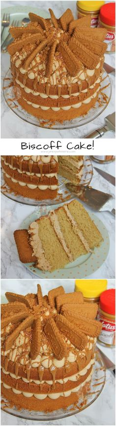 A Delicious and Moist Biscoff Cake with Lotus Biscuits! Perfect Spiced and Sweet cake for all Biscoff Lovers out there! Patisserie Cake, Janes Patisserie, Biscoff Recipes, Baking Recipes, Big Cakes, Sweet Cakes, Box Cake Recipes, Dessert Recipes, Biscoff Cake
