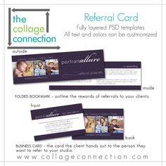 Referral Cards.  http://www.collageconnection.com/store/products/products/business-builders/#