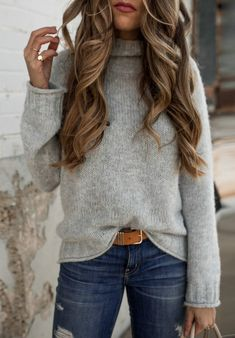 #winter #outfits gray turtle-neck sweater