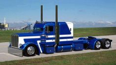Blue and white Peterbilt