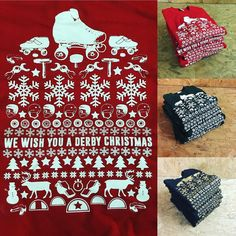 Stacks and stacks of festive roller derby sweaters off to happy recipients today via @johnwebbactual including a custom gold/black colour way for @nrgrollergirls great work Bacon! #rollerderby #festive #sweaters by rollerderbycity