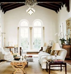 Living Room Decorating Ideas. Beautiful Spanish Colonial ceiling and arched windows