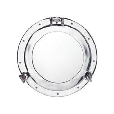 Bask in the illusion of this aluminum porthole—instead of looking outward, instead you see yourself! This mirror is a great addition to industrial style rooms, and adds a pop of shiny accent that helps...  Find the Under the Sea Aluminum Wall Mirror, as seen in the Modern Nautical Bath Collection at http://dotandbo.com/collections/modern-nautical-bath?utm_source=pinterest&utm_medium=organic&db_sku=98117