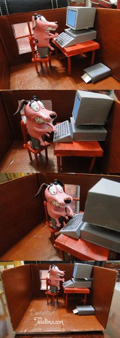 Courage the cowardly dog -Computer by ~teialima on deviantART