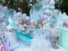 Little Mermaid Birthday, Little Mermaid Parties, Birthday Balloons, 1st Birthday Parties, Anniversaire Candy Land, Mermaid Birthday Decorations, Little Mermaid Balloon Decorations, Disney Princess Birthday, Shower Party