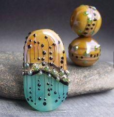 MruMru cristal de Murano hecho a mano grano pendiente par y trío Focal. Sra