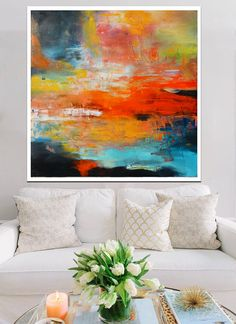 Large abstract painting red and blue, vibrant abstract painting print, huge canvas print giclee, sunset print, large abstract landscape