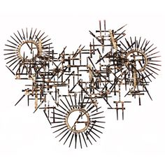 Geometric Wall Mounted Nail Sculpture | From a unique collection of antique and modern wall-mounted sculptures at https://www.1stdibs.com/furniture/wall-decorations/wall-mounted-sculptures/