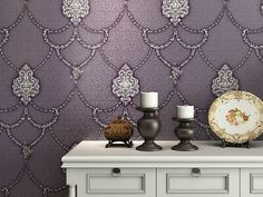 Purple bathroom Wallpaper | White sideboard with elegant purple wallpaper