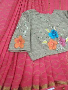 Fabric Paint Shirt, Fabric Painting, Pure Georgette Sarees, Paint Designs, Indian Sarees, Saree Blouse, Blouse Designs, Kurti, Applique