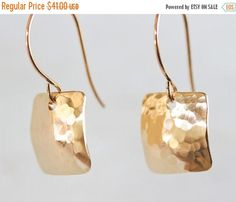 HOPPY EASTER SALE Nu Gold Square Earrings  Simple Jewelry