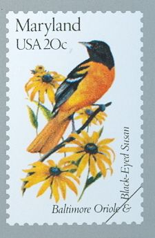Stamp featuring the Maryland State Flower & Bird!