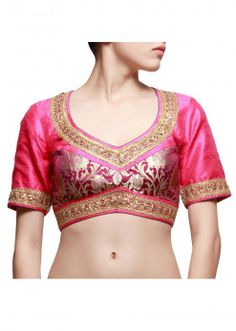 Pink and purple blouse enhanced in gotta patti lace only on kalki