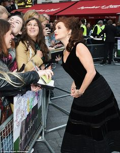 Helena Bonham Carter with fans at the London premiere of Suffragette