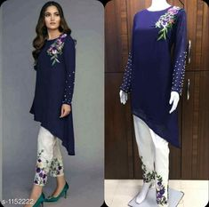 Wholesale Embroidery Work Party Wear Kurtis With Pants Set. Lkfabkart provides kurti in cheap rates. Dress Designs For Girls, Stylish Dress Designs, Stylish Dresses, Fashion Dresses, Casual Dresses, Party Wear Kurtis, Kurti Designs Party Wear, Party Wear Dresses, Pakistani Dresses Casual