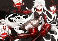 aircraft carrier hime breasts cleavage dress kantai collection kurisu takumi anime navel red eyes thighhighs white hair Canvas Wall Poster - Decal Design