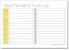 meal planner with to do list