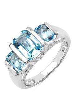 Olivia Leone Sterling Silver Tiered Radiant Blue Topaz Ring