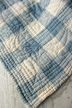 Antique French quilt fragment from Provence ~ lovely faded blue Vichy check fabric ~ www.textiletrunk.com