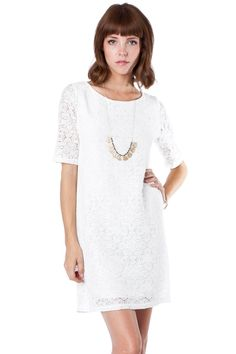 Knotted Lace Shift Dress in White / ShopSosie #lace #dress #shopsosie