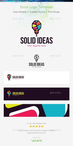 Solid Ideas Stock Logo Template by vecras Creative abstract showing colourful bulb and exclamation mark. Representing art and craft skills, creative thinking, energy, intel Logo Design Template, Logo Templates, Logo Shapes, Polygon Art, Large Format Printing, Geometric Logo, Stationery Items, Symbol Logo, Creative Thinking