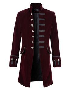 Men's Steampunk Costume Essentials Mens Velvet Goth Steampunk Victorian Frock Coat AT vintagedancer.com