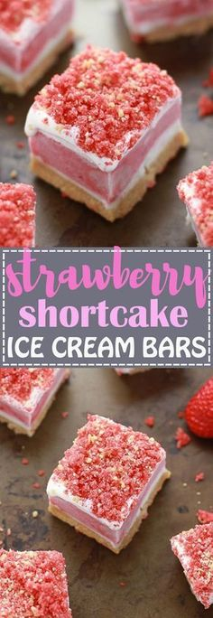 No Bake Strawberry Shortcake Ice Cream Bars has all the flavors you love about the Good Humor Popsicles in an easy no bake icebox treat. Best of all, this recipe is super simple to make with creamy vanilla ice cream, strawberry sorbet and crushed Oreo cookies.So delicious and great for cooling down on birthdays or any summer party! Ice Cream Treats, Ice Cream Desserts, Frozen Desserts, Ice Cream Recipes, No Bake Desserts, Just Desserts, Delicious Desserts, Yummy Food, Frozen Treats