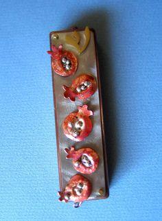 Pomegranate Mezuzah Mixed Metals by ruthshapiro on Etsy, $180.00