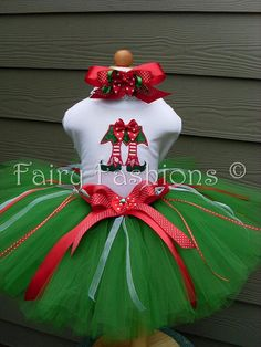 Elf tutu outfit. Custom tutus..SANTAS HELPER DESIGN..sizes 3,6,9,12,18,24 months and 2T,3T,4T,5T,6T years,costume, birthday,christmas gift, photos