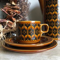 Autumnal, Cup And Saucer, House Warming, Mid-century Modern, Mid Century, Colours, Plates, Tea, Retro