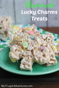 Here is a fun and easy St Patrick's Day treat for kiddos- Lucky Charms Treats.  These are so easy to whip up- just like a Rice Krispies treat- and something festive and different for the little ones. These would be very cute for class parties and you can use a little Shamrock cookie cutter …