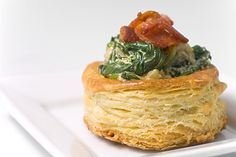 Vols Au Vent with Creamy Spinach and Bacon Filling Hoity toity if you wanna be :)