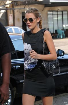 edgy blake - dig the whole look - lbd w/a splash, slightly slicked back pony to braid, sunglasses, and the always chic CC purse