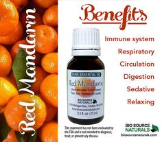 Red Mandarin Citrus Pure Essential by Biosource Naturals, creates a feeling of warmth. Use a few drops in a diffuser to freshen the aroma climate of your home. It also helps soothe symptoms of digestion problems. Great for immune system support. #aromatherapy
