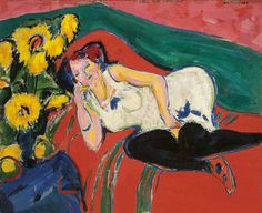 Ernst Ludwig Kirchner, Reclining woman in a white chemise