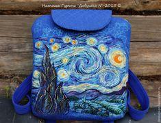 """Купить Рюкзак """"Звёздная ночь"""". - тёмно-синий, рюкзак, рюкзак женский, рюкзак ручной работы"""