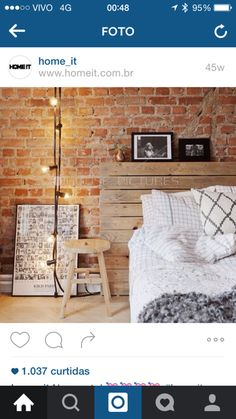 You must feel lucky to have exposed brick walls as one of the interior designs of your home. You absolutely make other home owners jealous! Exposed brick walls are able to add warmth and character to Dream Bedroom, Home Bedroom, Bedroom Decor, Bedroom Ideas, Bedroom Wall, Bedroom Lighting, Bedroom Designs, Bedroom Headboards, Light Bedroom