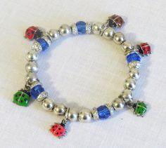 Lady bug charm bracelet Multi color charm bracelet by jewlerystar
