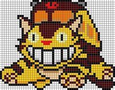 ネコバス                                                                                                                                                                                 もっと見る Melty Bead Patterns, Perler Patterns, Loom Patterns, Craft Patterns, Beading Patterns, Embroidery Patterns, Cross Stitch Patterns, Totoro, Perler Beads