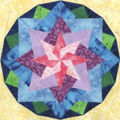 """Almaaz Quilt Block Pattern, 12"""" x 12"""" Downloadable Pattern or printed Copy."""