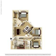 3 Bedroom 1278 Sq Ft C1-A-3  Ooltewah, TN Integra Preserve Floor Plans   Apartments in Ooltewah, TN - Floor Plans