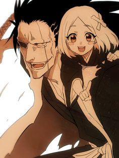 Captain Kenpachi Zaraki (更木 剣八) with His Faithful Companion Yachiru Kusajishi (草鹿 やちる)