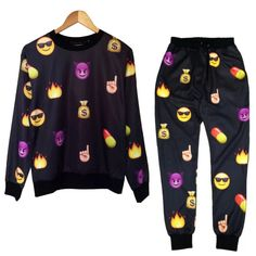 BrytCouture - Unisex Emoji Sweatpants Joggers and Sweater Black- Set, US$74.99 (http://www.brytcouture.com/unisex-emoji-sweatpants-joggers-and-sweater-black-set/)