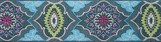 Amy Butler Gray on Blue Brocade - 50mm Renaissance Ribbon (per 1/4 metre)
